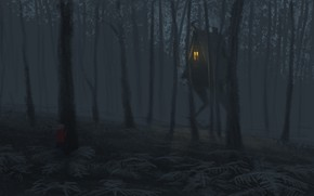 Picture forest, trees, hut, child, fantasy, art, gloomy