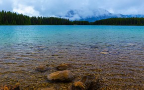 Picture forest, landscape, mountains, nature, pebbles, stones, shore, the slopes, tops, the bottom, ate, Canada, Albert, …
