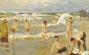 Picture picture, 1909, genre, Max Liebermann, Max Liebermann, Bathing Boys
