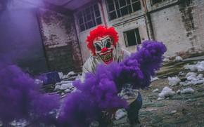 Picture smoke, clown, mask, guy, сигнальная звездка