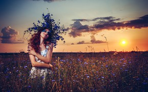 Picture field, summer, girl, sunset, flowers, pose, wreath, Axe, Ruslan Bolgov