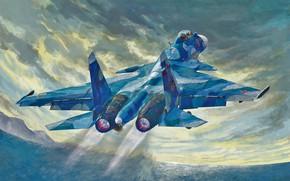 Picture art, airplane, aviation, jet, SU33