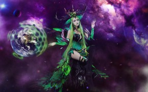 Picture greens, purple, chest, the sky, look, leaves, girl, space, flight, night, nebula, face, sexy, pose, …
