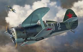 Picture art, airplane, aviation, Polikarpov, ww2, i-153