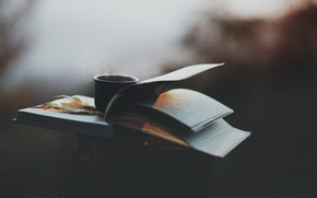 Picture autumn, coffee, book, depth of field