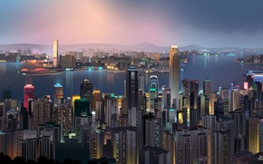 Picture Hong Kong, Night, Vector, The city, Neon, Ship, Style, Skyscrapers, Building, China, Landscape, Architecture, Art, …