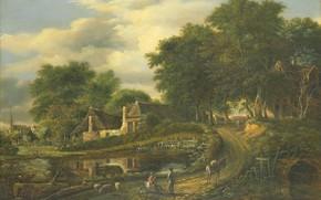 Picture oil, picture, Landscape, 1837, Julien-Joseph Ducorron, Julien-Joseph Dukoral
