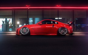 Picture Red, Auto, Night, Machine, Tuning, Nissan, Red, Nissan 350Z, Car, Sunrise, Tuning, Transport & Vehicles, …