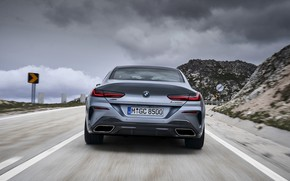 Picture overcast, coupe, BMW, Gran Coupe, feed, 8-Series, 2019, the four-door coupe, Eight, G16, steel gray