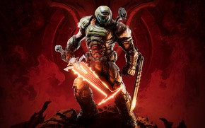 Picture soldiers, bones, skull, armor, red background, DOOM Eternal