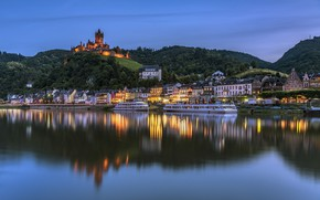 Picture lights, river, castle, home, Germany, Cochem