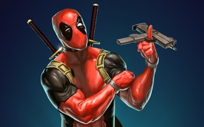 Picture background, fiction, art, swords, comics, Deadpool, Deadpool