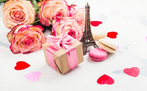 Picture gift, roses, bouquet, cookies, decor, composition, Eiffel tower