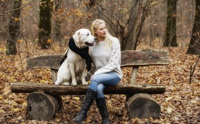 Picture autumn, girl, bench, face, hair, dog