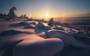 Picture Sunset, Winter, Mountains, Barkhan, Snow, Frost, Shadows, Slope, The snow, Shine, Gluhozime