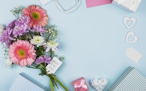 Picture flowers, gifts, composition, congratulations
