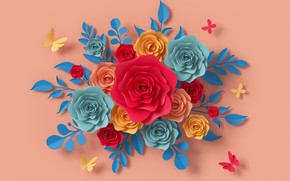 Picture butterfly, flowers, style, paper, background, pink