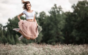 Picture girl, joy, flowers, mood, jump, skirt, chamomile, meadow, Vladimir Vasiliev