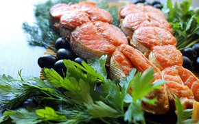 Picture food, fish, parsley, olives, spices