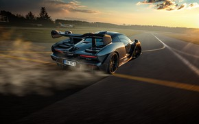 Picture sunset, McLaren, speed, the evening, supercar, Senna, Novitec, 2020