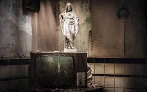 Picture background, TV, statue