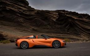 Picture road, rock, BMW, Roadster, 2018, i8, dark orange, i8 Roadster