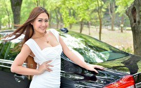 Picture auto, look, smile, Girls, Asian, beautiful girl, posing on the car, VOLVO S80