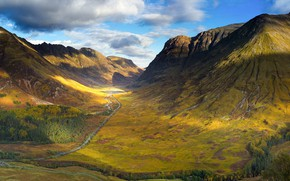 Picture road, mountains, valley, Scotland, Glen Coe in the Highlands of Scotland