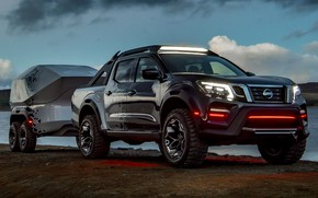 Picture water, shore, the evening, Nissan, pickup, the trailer, 2018, Navara, Dark Sky Concept