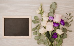 Picture flowers, roses, bouquet, frame, pink, flowers, purple, roses, eustoma, frame, eustoma
