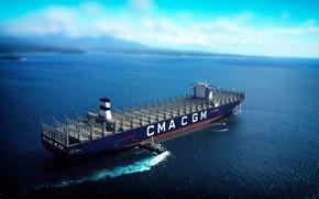 Wallpaper Sea, The ship, A container ship, Tug, Empty, Vessel, A cargo ship, Container Ship, Tug, ...