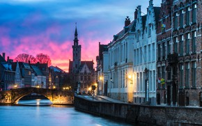 Picture winter, bridge, the city, home, morning, lighting, lights, channel, Belgium, Bruges