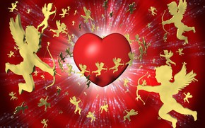 Picture heart, wings, angels, arrows, Valentine's day, red background, Luke, 3D Graphics