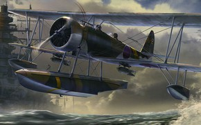Picture art, airplane, aviation, ww2, nakajima e8n2