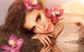 Picture pose, portrait, look, flowers, reflection, brown hair, beauty, hairstyle, makeup, orchids