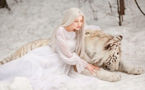 Picture winter, white, girl, snow, nature, face, tiger, pose, background, dress, blonde, friendship, girl, outfit, the …