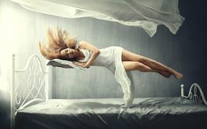 Picture girl, sleep, girl, sleep, levitation, levitation