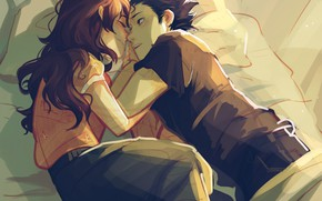 Picture girl, bed, art, guy, two, Form voice, You No Katachi, Form Voice
