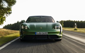 Picture trees, Porsche, Turbo S, on the road, 2020, Taycan, before