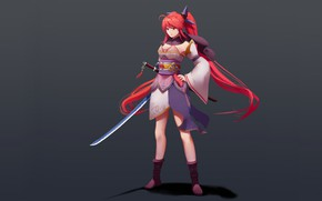 Picture girl, sword, grey background, red hair