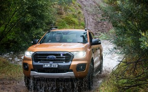Picture Ford, Water, Mountains, River, Forest, Dirt, Jeep, Pickup, Ranger, Wildtrak