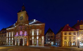 Picture night, lights, France, watch, tower, home, area, lights, Alsace, White castle