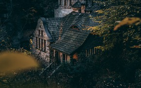 Picture house, forest, trees, autumn, old, leaves, landscapes, bushes, branches, miscellaneous, home design