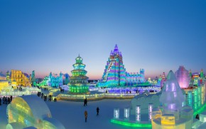 Picture lights, China, Harbin, Harbin international festival of ice and snow