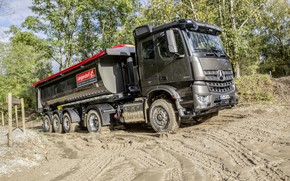 Picture Mercedes-Benz, dirt, the ground, tractor, dump truck, 4x2, Arocs, the trailer