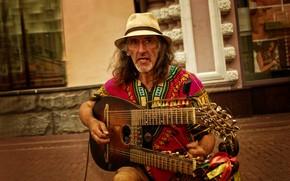 Picture guitar, hat, Moscow, musician, emotions, Kide Fotoart, Sergei Sadov, Arbat
