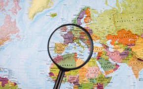 Picture europe, France, map, Spain, magnifying glass