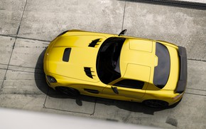 Picture Mercedes-Benz, Auto, Yellow, Machine, Mercedes, SLS AMG, AMG, The view from the top, SLS, Rendering, …
