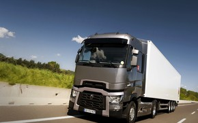 Picture grey, track, the fence, truck, Renault, tractor, 4x2, the trailer, Renault Trucks, T-series