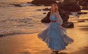 Picture sea, look, girl, pose, coast, dress, Sydney Sweeney